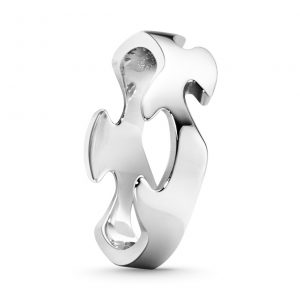 Mestergull Fushion Centre Ring i 18 K Hvitt Gull GEORG JENSEN Fusion Ring