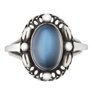 Mestergull Moonlight Ring i oksidert sølv med månesten GEORG JENSEN Ring