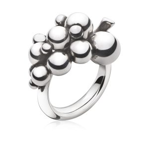Mestergull Grape Ring i oksidert sølv GEORG JENSEN Grape Ring
