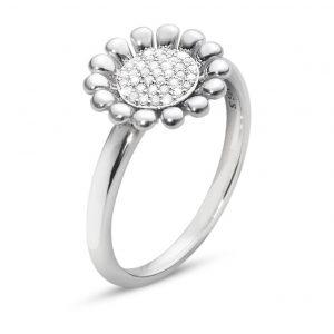Mestergull Sunflower Ring i sølv med Diamanter GEORG JENSEN Sunflower Ring