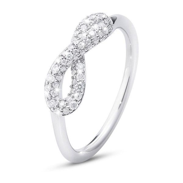Mestergull Infinity Ring i sølv med Diamanter GEORG JENSEN Infinity Ring