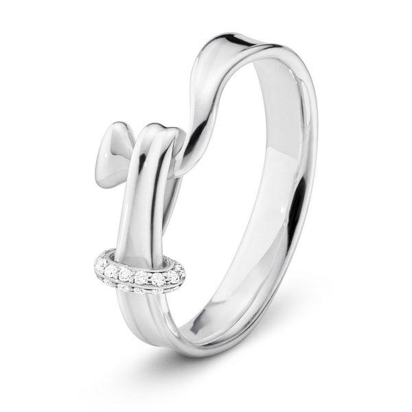 Mestergull Torun Ring i sølv med diamanter GEORG JENSEN Torun Ring