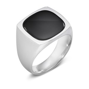 Mestergull Ring i sølv og Sort Onyx GEORG JENSEN Ring