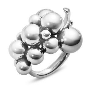 Mestergull Grape Medium Ring i sølv GEORG JENSEN Grape Ring