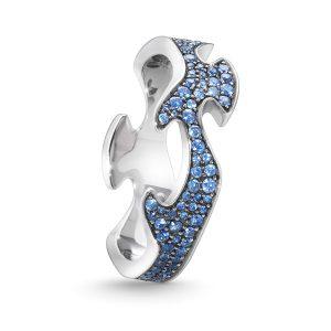 Mestergull Fushion Centre Ring i 18 K Hvitt Gull med blå safirer pavé GEORG JENSEN Fusion Ring
