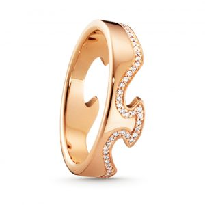 Mestergull Fushion End Ring i 18 K Rosè Gull og diamanter GEORG JENSEN Fusion Ring