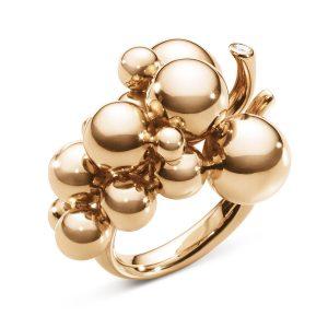 Mestergull Grape Ring i 18 K Rosé Gull med diamanter GEORG JENSEN Grape Ring