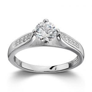 Mestergull Elegant sølvring med hvite cubic zirkonia GID Ring