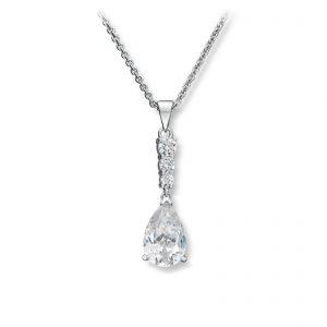 Mestergull Elegant anheng i rhodinert sølv med hvite cubic zirkonia GID Anheng