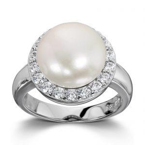 Mestergull Klassisk ring i rhodinert sølv med ferskvannsperle og hvite cubic zirkonia GID Ring