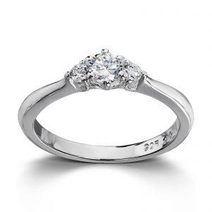 Mestergull Tidløs sølvring med hvite cubic zirkonia GID Ring