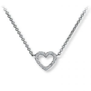 Mestergull Delikat hjerteanheng i rhodinert sølv med hvite cubic zirkonia GID Kjede