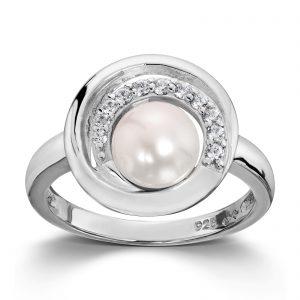 Mestergull Flott ring i rhodinert sølv med ferskvannsperle og hvite cubic zirkonia GID Ring