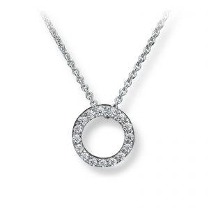 Mestergull Elegant kjede sirkel i rhodinert sølv med hvite cubic zirkonia GID Anheng