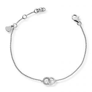 Mestergull Elegant armbånd sirkel i rhodinert sølv med hvite cubic zirkonia GID Armbånd