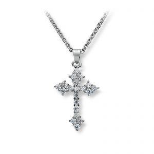 Mestergull Lekkert anheng kors i rhodinert sølv med hvite cubic zirkonia GID Anheng