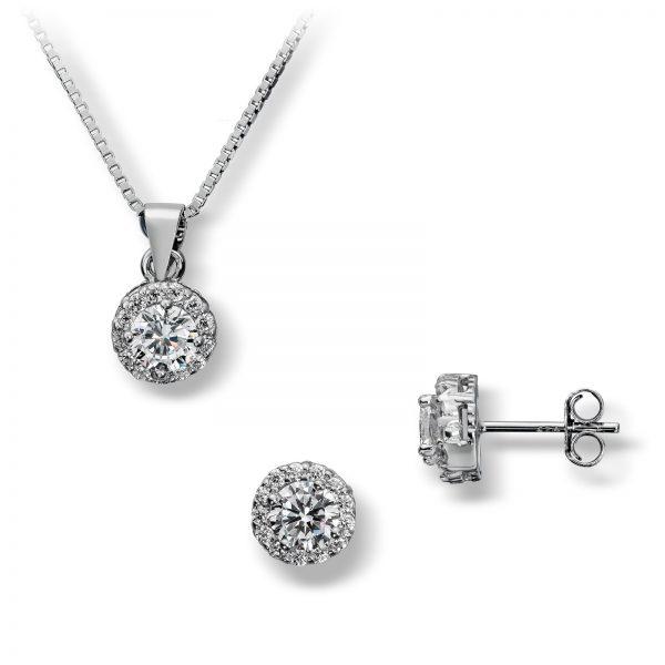 Mestergull Klassisk sett i rhodinert sølv, ørepynt og anheng med hvite cubic zirkonia GID Sett