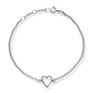 Mestergull Flott hjertearmbånd i rhodinert sølv med hvite cubic zirkonia GID Armbånd