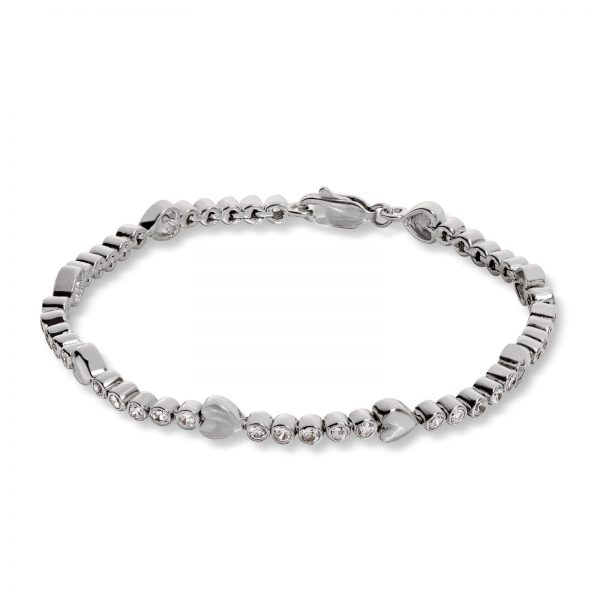 Mestergull Lekkert armbånd i rhodinert sølv med hvite cubic zirkonia GID Armbånd