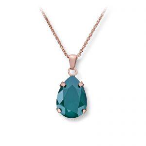 Mestergull Lekkert anheng i rosèforgylt sølv med grønn swarovski krystall GID Anheng