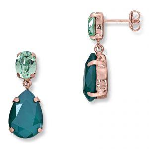 Mestergull Lekker ørepynt i rosèforgylt sølv med grønn mix av swarovski krystaller GID Ørepynt