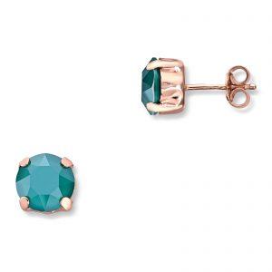 Mestergull Lekker ørepynt i rosèforgylt sølv med grønn swarovski krystaller GID Ørepynt