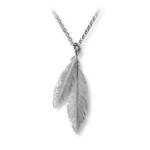Mestergull Tøft anheng i rhodinert sølv blad GID Anheng