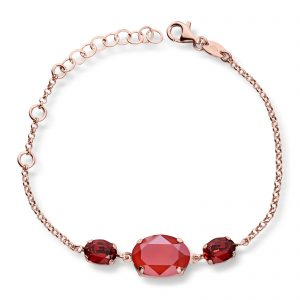 Mestergull Lekkert armbånd i rosèforgylt sølv med rød mix av swarovski krystaller GID Armbånd