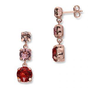 Mestergull Lekker ørepynt i rosèforgylt sølv med rød mix av swarovski krystaller GID Ørepynt