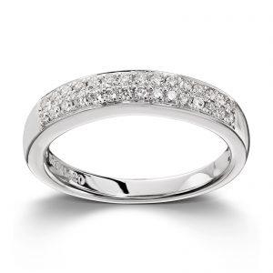 Mestergull Stilren ring i hvitt gull med 30 diamanter totalt 0,24ct. HSI MG DIAMONDS Ring