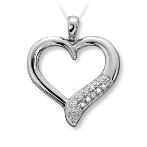 Mestergull Flott diamanthjerte i hvitt gull MG DIAMONDS Anheng