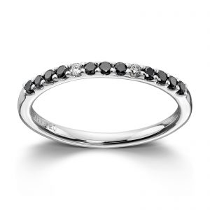 Mestergull Enkel hvittgullsring med sorte og hvite diamanter MG DIAMONDS Ring