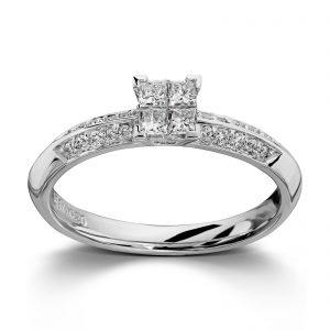 Mestergull Vakker ring i hvitt gull med diamanter i prinsesse og brilliantslip MG DIAMONDS Ring