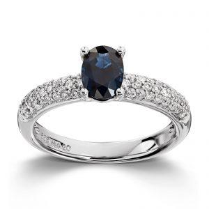 Mestergull Tøff ring i hvitt gull med safir og diamanter MG DIAMONDS Ring