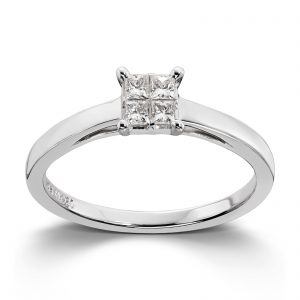 Mestergull Klassisk ring i hvitt gull med princess cut diamanter MG DIAMONDS Ring