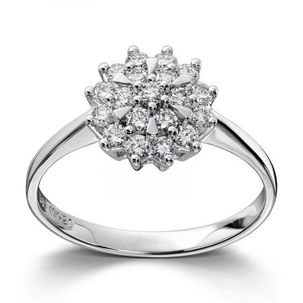 Mestergull Klassisk og elegant rosettring i hvitt gull med diamanter MG DIAMONDS Ring