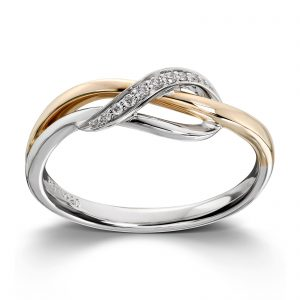 Mestergull Elegant ring i gult og hvitt gull med diamanter MG DIAMONDS Ring