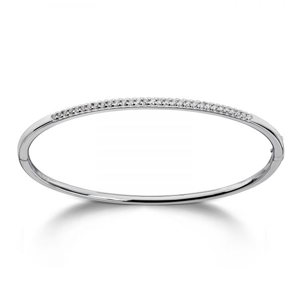 Mestergull Klassisk armring i hvitt gull med diamanter MG DIAMONDS Armring