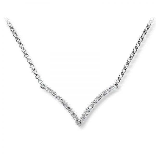 Mestergull Tøft anheng i hvitt gull med diamanter MG DIAMONDS Kjede