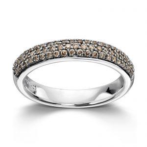 Mestergull Delikat ring i hvitt gull med brune diamanter MG DIAMONDS Ring