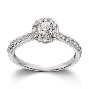 Mestergull Vakker ring i hvitt gull med diamanter MG DIAMONDS Ring