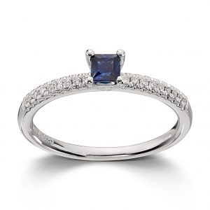 Mestergull Klassisk ring i hvitt gull med safir og diamanter MG DIAMONDS Ring