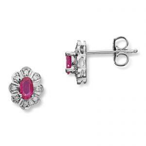 Mestergull Klassisk ørepynt i hvitt gull med rubiner og 16 diamanter MG DIAMONDS Ørepynt