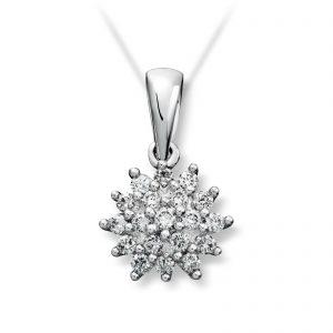 Mestergull Klassisk rosett anheng i hvitt gull med diamanter MG DIAMONDS Anheng
