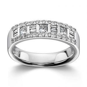 Mestergull Spennende ring i hvitt gull med kombinasjoner av diamantslip MG DIAMONDS Ring