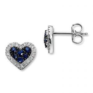 Mestergull Vakker hjerteørepynt i hvitt gull med diamanter og safir MG DIAMONDS Ørepynt