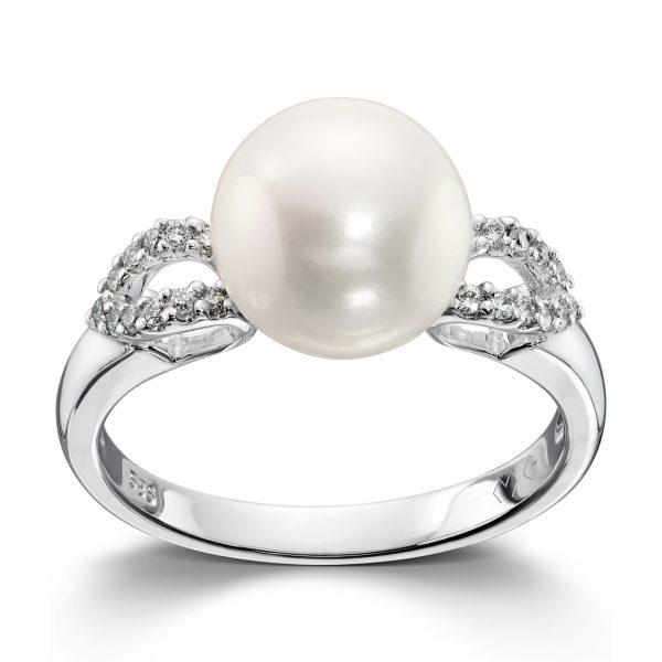Mestergull Elegant ring i hvitt gull med diamanter og ferskvannsperle MG DIAMONDS Ring