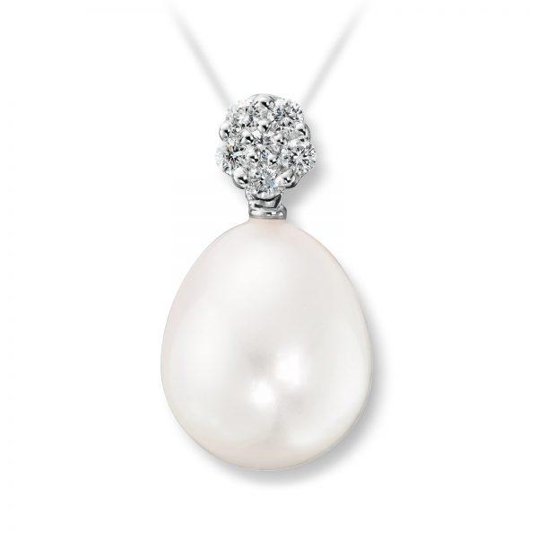 Mestergull Vakkert anheng i hvitt gull med diamanter og ferskvannsperl MG DIAMONDS Anheng