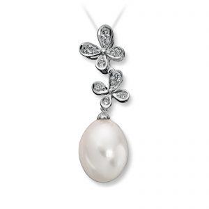 Mestergull Vakkert anheng i hvitt gull med diamanter og ferskvannsperle MG DIAMONDS Anheng