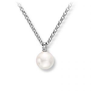 Mestergull Elegant kjede i hvitt gull med ferskvannsperle og diamanter MG DIAMONDS Kjede